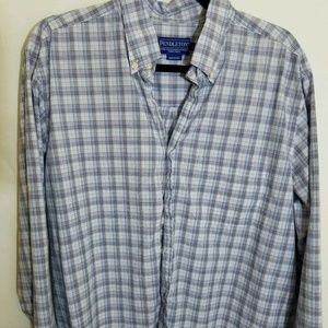 PENDLETON Mens Large Shirt Blue Long Sleeve Checks